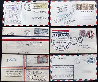 Collection Early Flight Flown Signed Covers Collection 1920's & 1930's [6] Cover