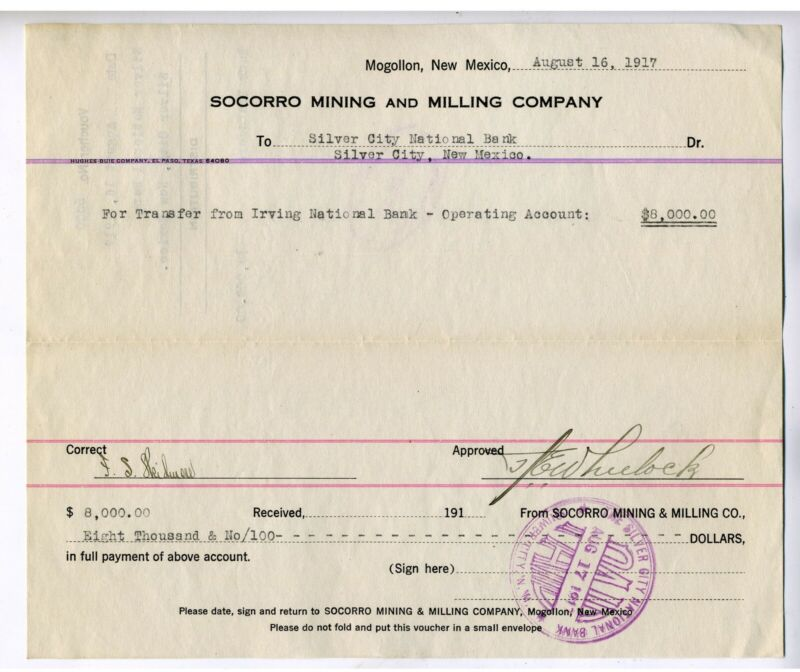 NEW MEXICO – SOCORRO MINING AND MILLING CO. VOUCHER BANK TRANSFERS 1917
