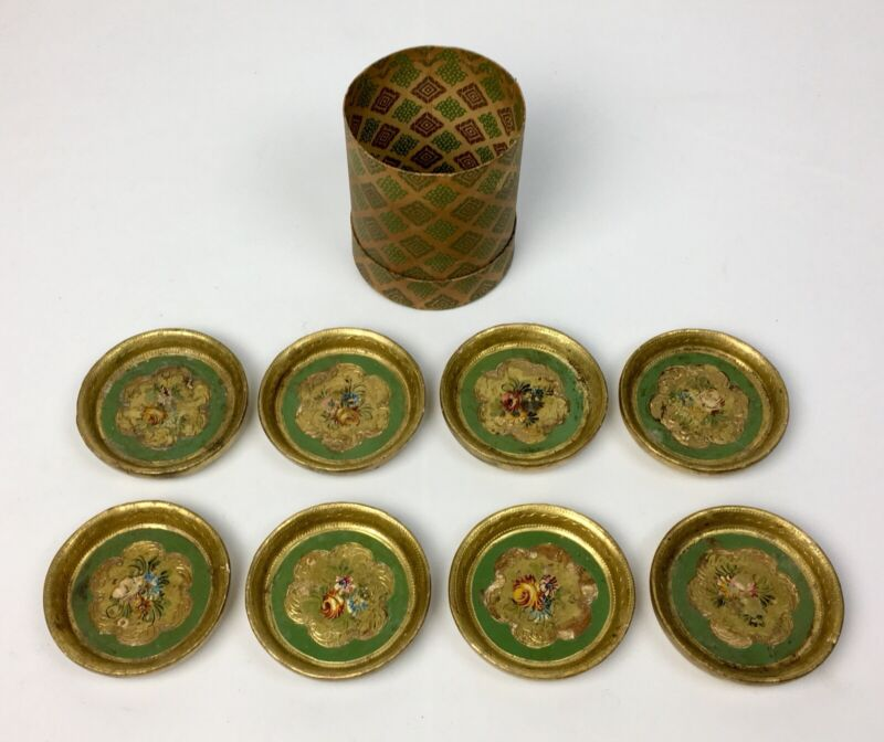 8 Vintage Italian Florentine Wood Gilt Painted Coasters
