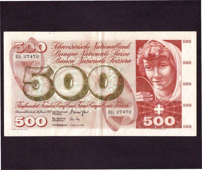 Switzerland 500 Franken 1972 P-51j * XF- * Large Note *