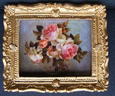 1:12 Scale Framed Picture Print Of Pink Roses Dolls House Miniature Flowers