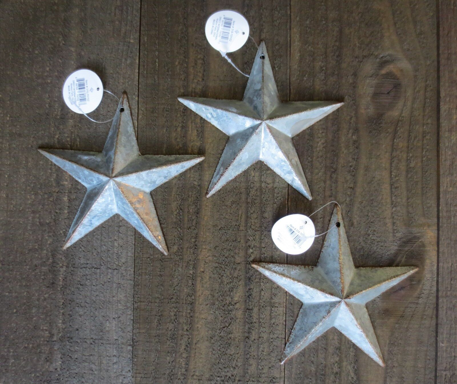 "Lot of 3 Galvanized Primitive Rusty Metal Stars 6"" Rustic Country Tin Barn Stars"