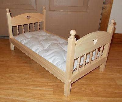 New American Made Doll Bed With Mattress For 18 Inch Dolls