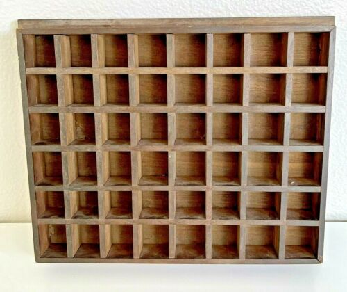 Vintage THIMBLE Display Case Wall Rack Shadow Box SOLID WOOD 48 Slots