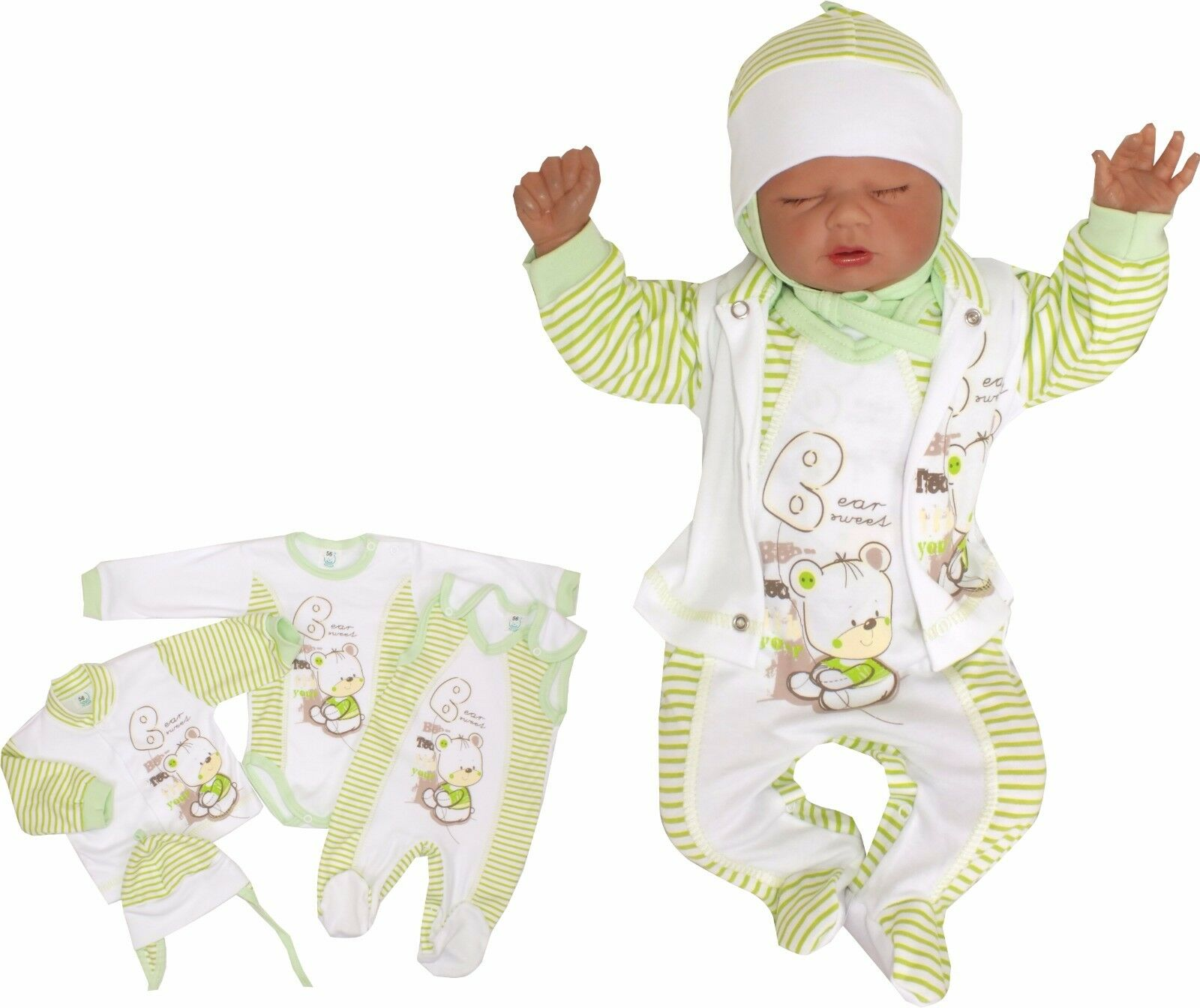 4 Tlg SET Baby Starterset Erstausstattung  50 56 62 68 100% Baumwolle Unisex
