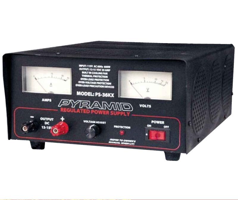 PS36KX PYRAMID 35 Amp 13.8-Volt Power Supply 120vAC to 12vDC ce