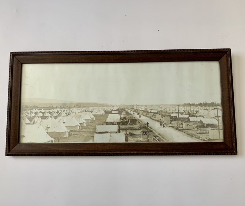 WW1 Canadian Framed Photo Valcartier Camp 1916 Quebec 145th 165th Battalions CEF