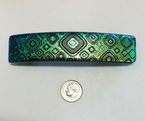 """Handmade By Janet Wolery - 4"""" Dichroic Fused Glass Hair Barrette - GREEN TILES"""