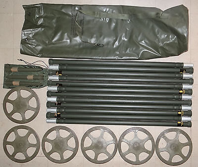 NOS Camo Support Antenna Stacking System 12 Al Poles Bag 24 Stakes + 2 Guy Rings