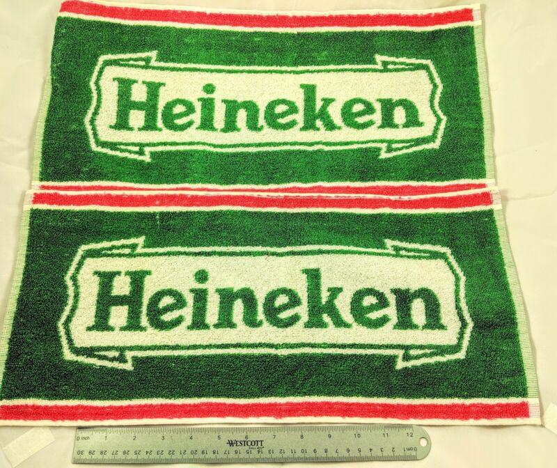 2 Vintage Heineken Bar Towels