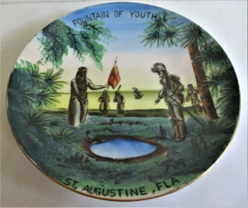 """VINTAGE SOUVENIR PLATE. """"FOUNTAIN OF YOUTH"""" ST. AUGUSTINE, FLA.. PREOWNED. (FLO)"""