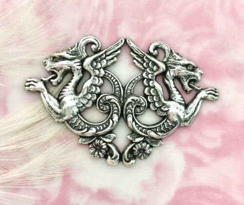 ANTIQUE SILVER Double Medieval DRAGONS Stamping ~ Oxidized Findings (C-1201)
