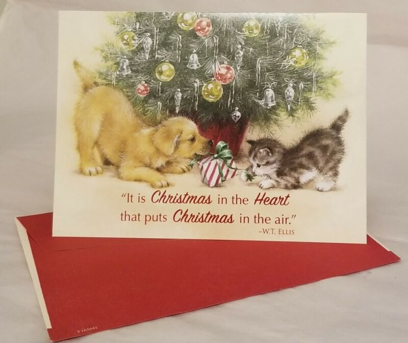 Christmas Greeting Card By Hazel Lincoln Cat Dog Kitten Puppy With Envelope Cute