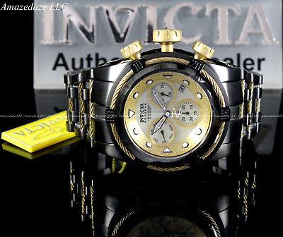 Invicta Men 52mm Bolt Zeus Swiss Z60 Chronograph Stainless St.Golden Dial Watch
