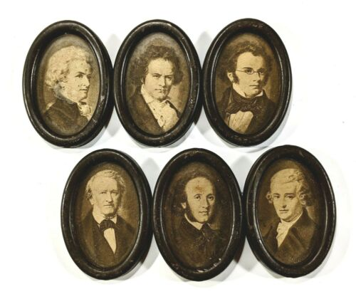 (6) Atq. 19th c. Musical Composer Framed Photos / BEETHOVEN WAGNER MOZART HAYDN+