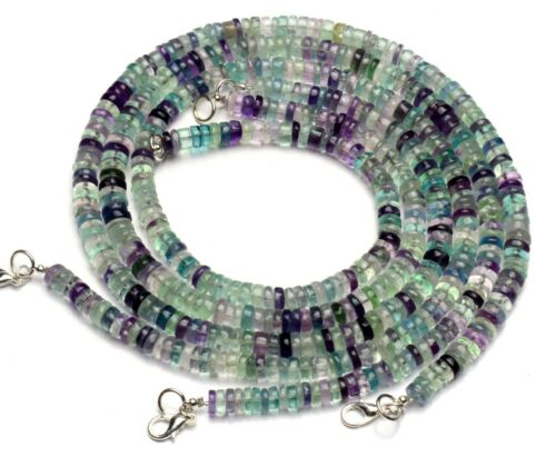 Natural Gem Multi-color Fluorite 6MM Smooth Rondelle Heishi Beads Necklace 18""