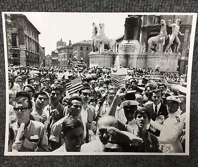 Crowd To See President John F Kennedy At Piazza Venezia Original Press Photo E20