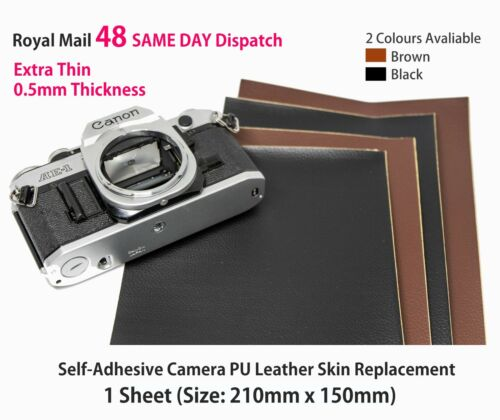 Camera Replacement Self-adhesive PU Leather 0.5mm Thin [BROWN] Restoration DIY