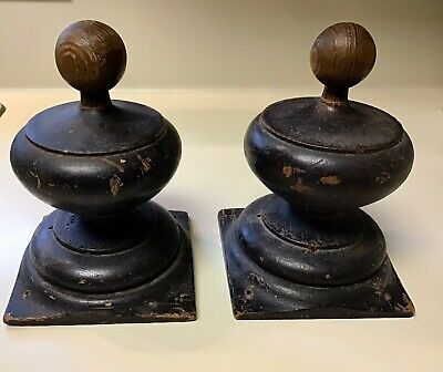 French Pair of Wood Newel Post Finial End Furniture