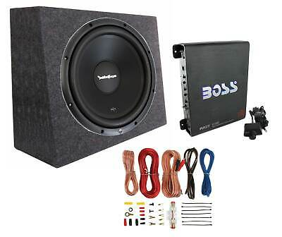 "Rockford Fosgate R1S4-10 10"" 300W Subwoofer + Sealed Box + Mono Amp + Wiring Kit"