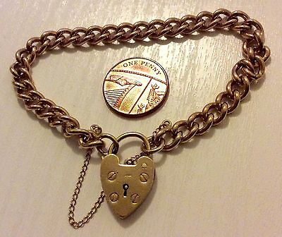 Fabulous Ladies Very Heavy Antique Solid 9ct Gold Bracelet & Padlock Stunning