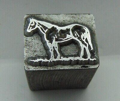 Printing Letterpress Printers Block Horse Standing On Grass