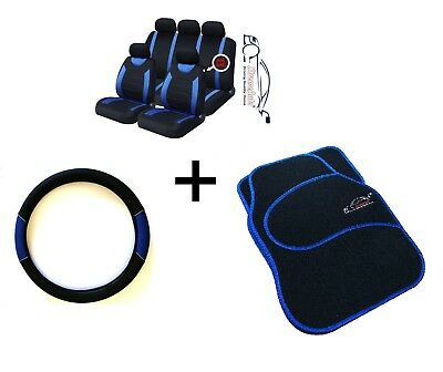 CARNABY BLUE CAR SPORT SEAT COVERS  MATCHING CARPET MATS  STEERING WHEEL COVER