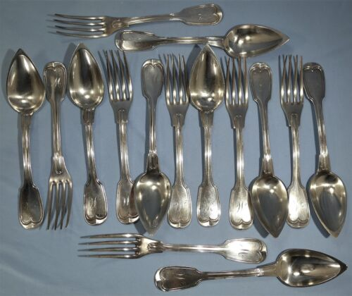 Antique French Sterling Silver 15 Piece Dinning Forks & Spoons Coquille Pattern