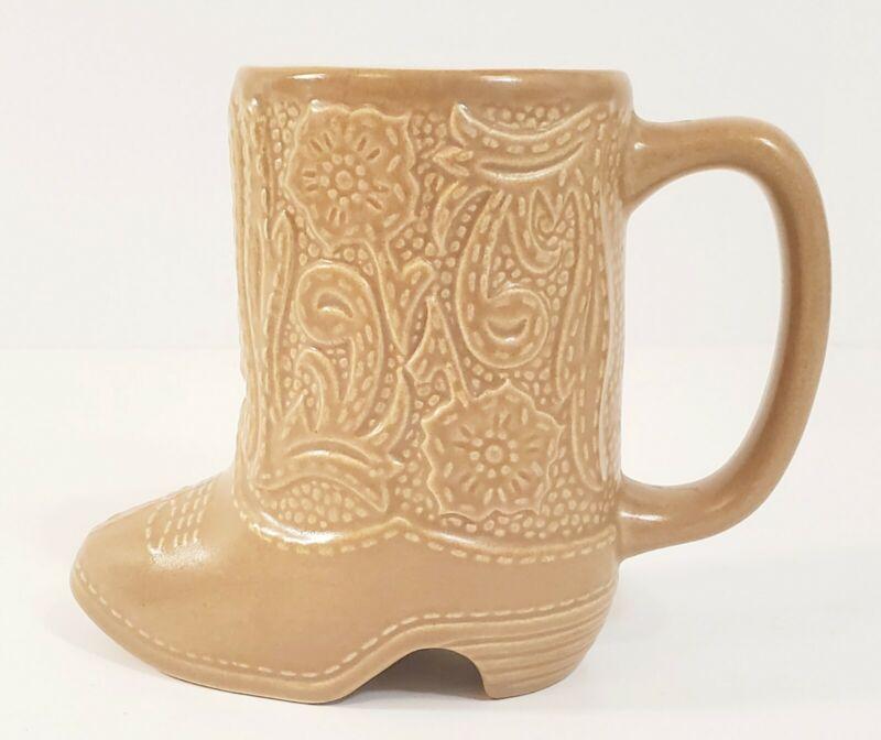 Vintage Ceramic Tan Cowboy Boot Western Coffee Mug Cup 5 Inch Tall