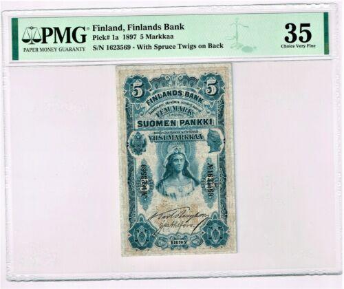 Finland: Finlands Bank 5 Markkaa 1897 Pick 1a PMG Choice Very Fine 35.