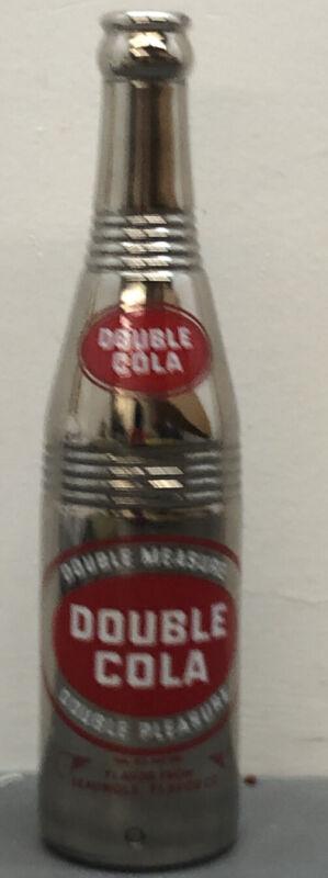 "Vtg Double Cola 10 Oz Soda Bottle Mirrored Great Condition 9.5"" Fleabite Base"