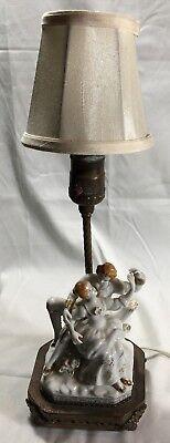 Antik Viktorianisch Liebespaar Tanzend Figur Tischleuchte Bemalt Porzellan - Lampe Viktorianische Tisch Lampe