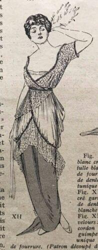 MODE PRATIQUE Dec 6,1913 + sewing patterns - evening dresses -Taffetas & satin