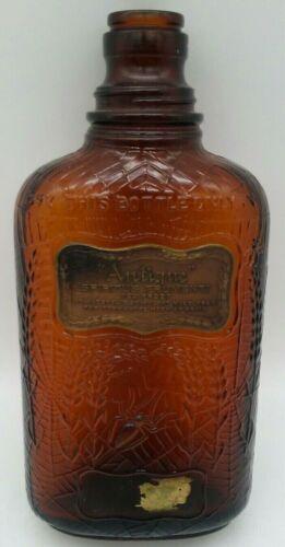 Prohibition Antique Spiritus Frumenti Amber Bottle w/ Embossed Spider Web 1920