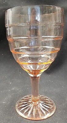"""ANCHOR HOCKING GLASS PINK WATER GOBLET - BLOCK OPTIC - 5 3/4"""" - ULTRA ART DECO"""