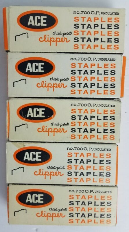 Lot of 5 Vintage ACE Clipper Staples No. 700 Undulated Chisel Point Clipper