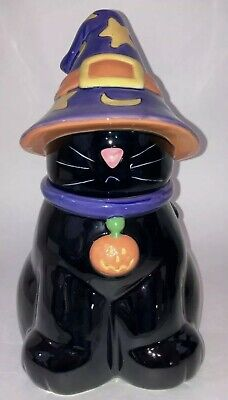 Harry & David Halloween Black Cat Cookie Jar In Purple Witches Hat Mint in Box
