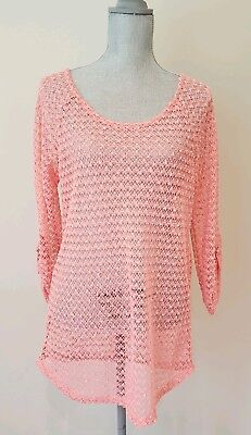 Cal Coral (Women's NWT Cal Style Coral Mesh/Crochet/Sheer 3/4 Sleeve Top. size Large)