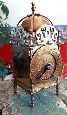 WORKING VINTAGE SMITHS BRASS LANTERN CLOCK, GERMAN QUARTZ MOVEMENT (Needs Hands)