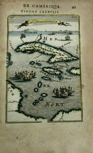 CUBA JAMAICA 1683 ALAIN MANESSON MALLET ANTIQUE MAP IN COLORS 17TH CENTURY