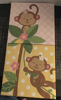Babies R Us Monkey Wall Art, Nursery Children's Decor Top 2 Canvases ()