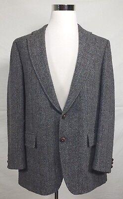 Stanley Blacker Harris Tweed Sz 42L 100% Wool Dark Gray 2 Button Blazer Jacket