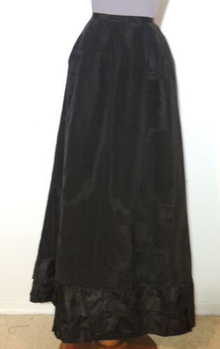 Victorian black Silk Faille Skirt w Colorful Lining / Ruffles SM w- 22 1/2