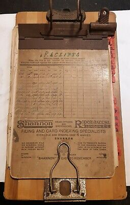 Shannon 1922-1930 Wooden Advertising Clipboard and receipts organiser.