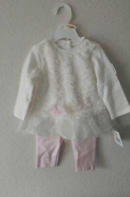 Baby Girls 12m 2 Piece - Little Me Baby Girls Size 12M 2 Piece Leggings Set, Pink/White