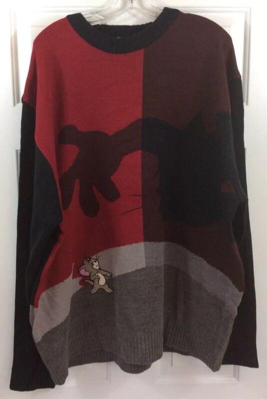 Tom & Jerry WB Cartoon Red & Black Knit Sweater Men's Size XXXL New!