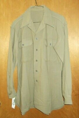 1940s Men's Shirts, Sweaters, Vests Vintage 1940's WWII US U.S. Army Officer's Men's Uniform Wool Shirt Size 15 x 32 $44.00 AT vintagedancer.com