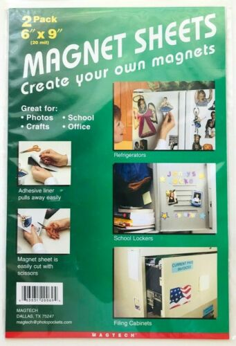 """MAGTECH 6"""" x 9"""" Magnet Sheets with Adhesive Liner 2 Pack Create Your Own Magnets"""