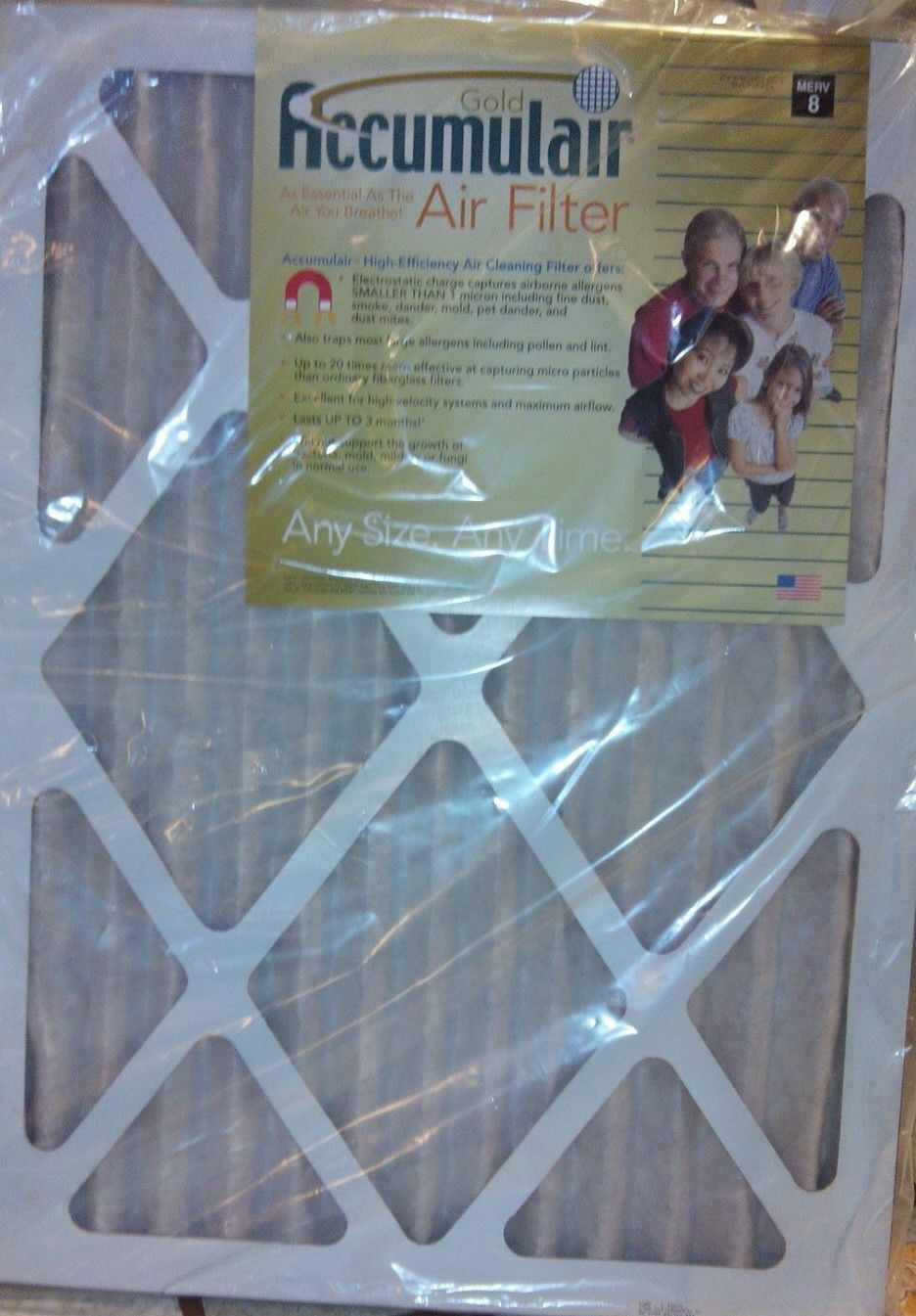 Accumulair Gold NEW Pleated Air Filter 6 or 4 Pack 15/19 x 2