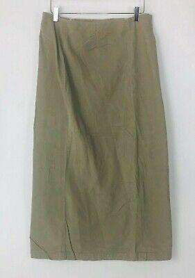 Vintage Eddie Bauer Womens Beige Khaki Corduroy Midi A Line Skirt Plus Size 16